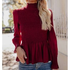 VICI Rockefeller Smocked Blouse Wine Red - SMALL